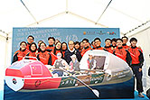 "Mr. Li welcomes the members of the Shantou University Ocean Rowing Expedition teams ""Hannah"" and ""Jasmine""."